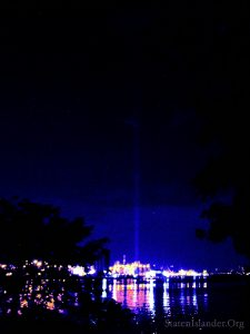 WTC Tribute In Light, 2019. Looking North From Snug Harbor Train Station, North Shore SI Railroad Line. Image Credit: StatenIslander.org
