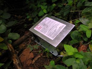 Wolfe's Pond Park. The Tick-Tock Tick control box. Right off the trail where people walk, keeping ticks at bay. Image Credit- StatenIslander.Org