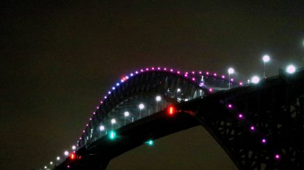 Pink Breast Cancer Awareness Month Bayonne Bridge Pink Lights At Night. Looking East From Richmond Terrace. 10-2-2019 Image Credit: StatenIslander.Org