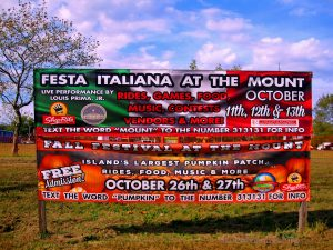 Festa Italiana At The Mount Sign Outside MountLoretto Campus On Hylan Blvd. Image Credit - Staten Islander Dot OrgMount Loretto, Staten Island, NY October 13, 2019.