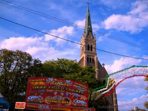 Deep Fried Treats Cart And The Old Church At The Italian Festival. Image Credit: StatenIslander.Org