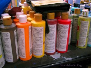 Bottles of Paint Waiting For Scott LoBaido To Put Them To Good Use.