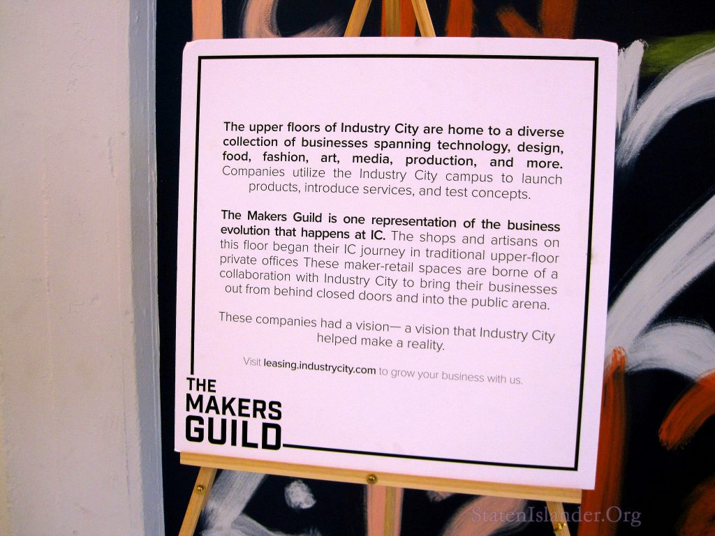 Sign announcing The Makers Guild at Industry City, Brooklyn, NY