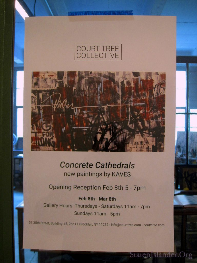 Court Tree Collective Concrete Cathedrals Sign on Gallery