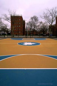 The Newly Remodeled B-Ball Courts At The Big Park. Harbor Houses In Background.