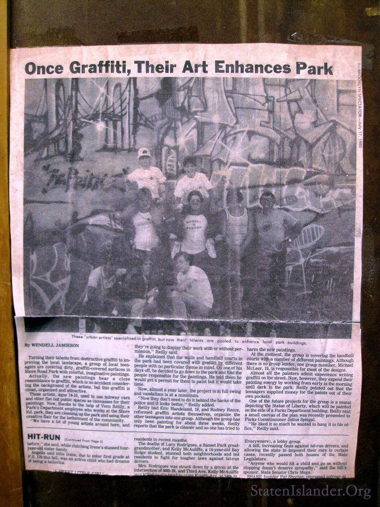 Newspaper article about Michael McLeer at 15, painting legal murals.