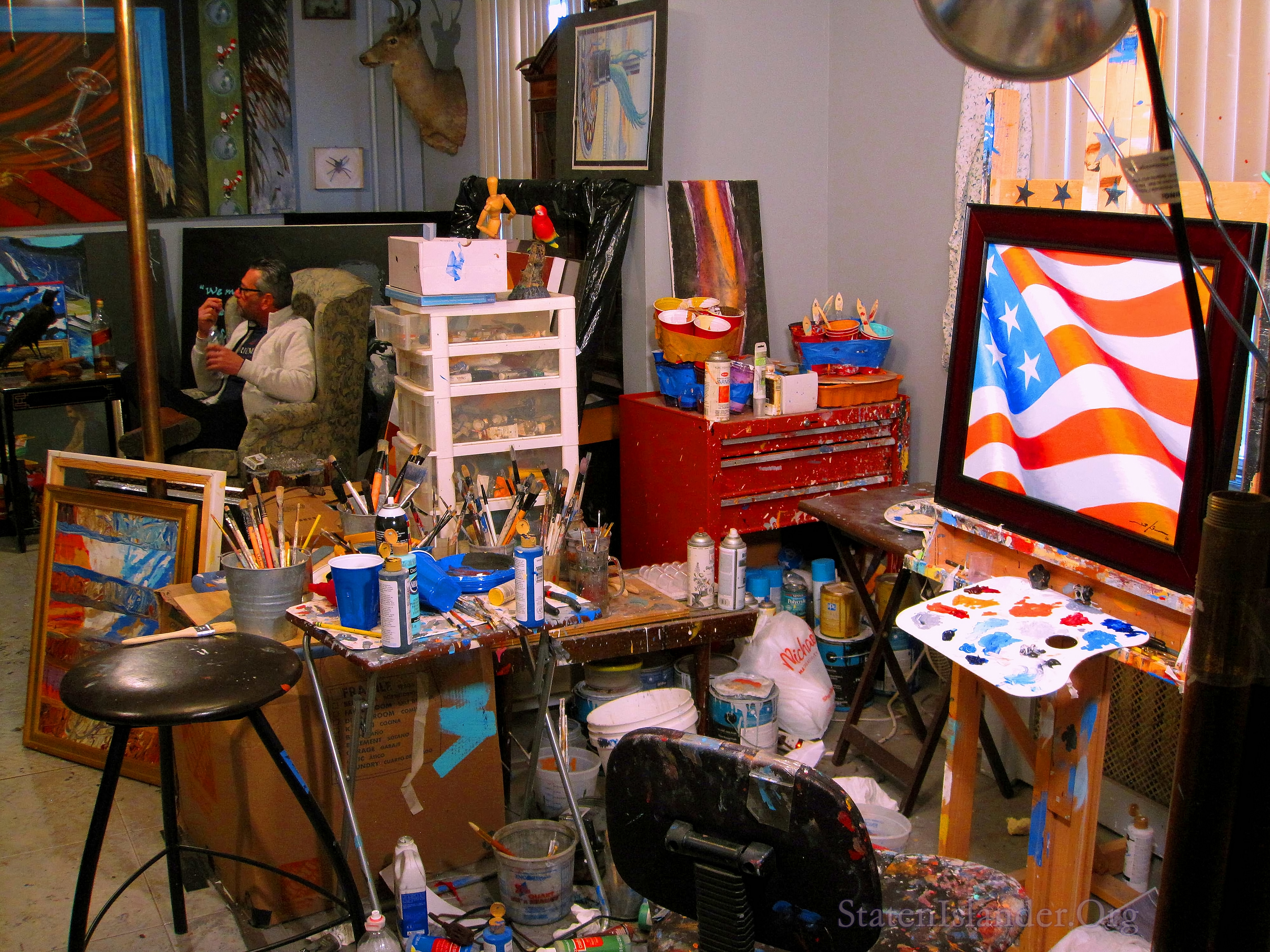 Scott's Work Area. A Commissioned Painting Presently Underway.