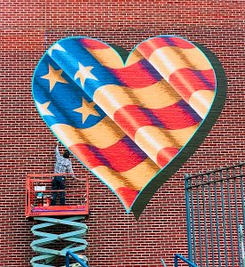 Scott LoBaido's Heart Flag on P.S. 35 For Covid-19