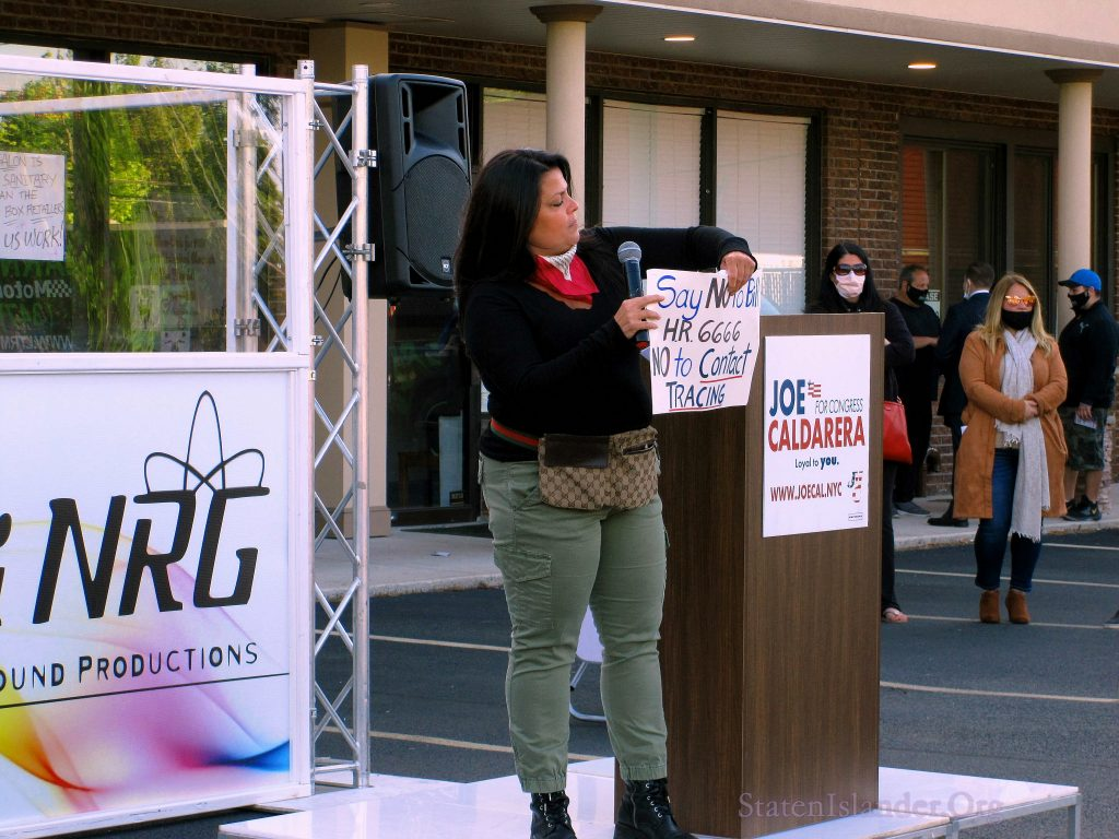 Christine Salica, Staten Island Activist, Speaks To The Protestors At The Rally In Annadale
