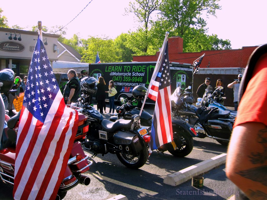 Hogs. (Motorcycles) With American Flags and Thin Blue Line American Flags