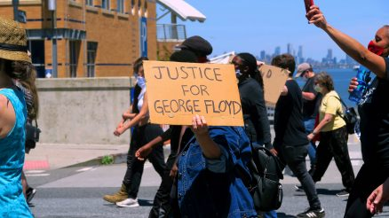 Justice-For-George-Floyd-Sign-At-Rally-In-St.-George