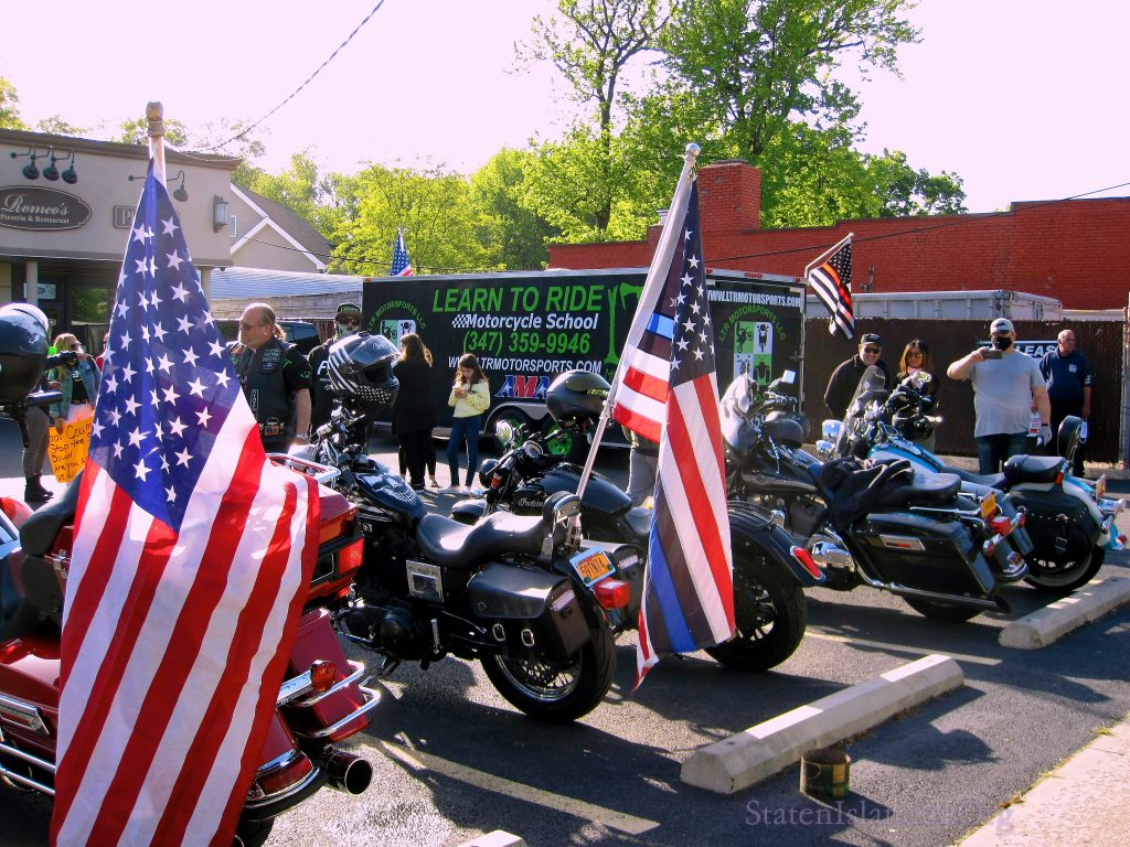 Learn To Ride Motocyclists and Their Bikes At The Staten Island Save Small Business COVID-19 PAUSE Rally