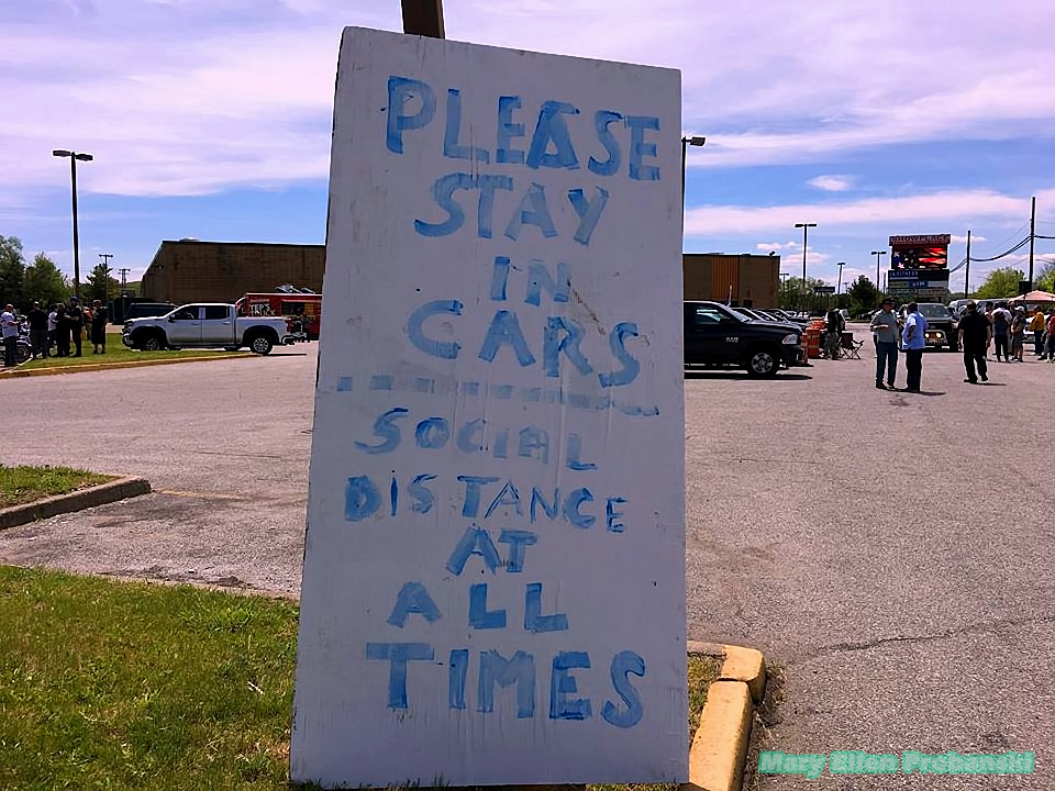 Sign With Rules For Proper Social Distancing At The Back2Work Event In Travis Asking For An End To NY On PAUSE - Image Credit Mary Ellen Probanski