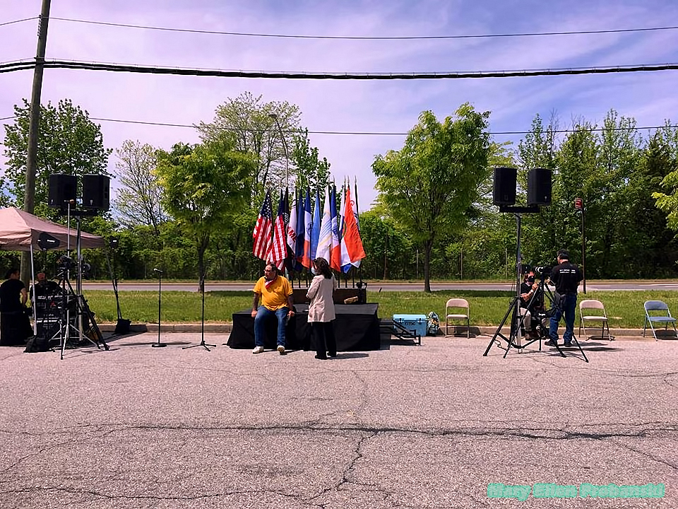 Steve Margarella Sits On The Stage At The Back2Work Protest In Travis On Saturday - Image Credit Mary Ellen Probanski