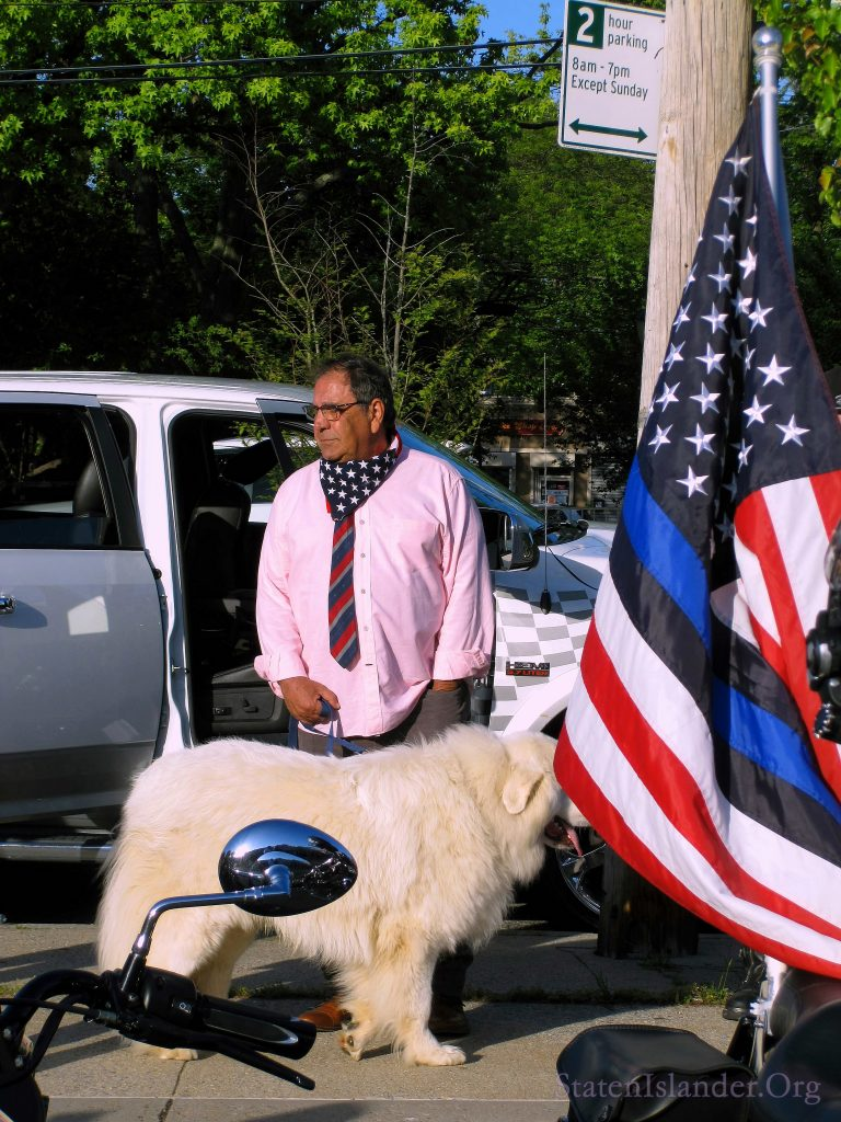 Steve Margarella With His Dog After The Save Staten Island Small Business Rally Was Over