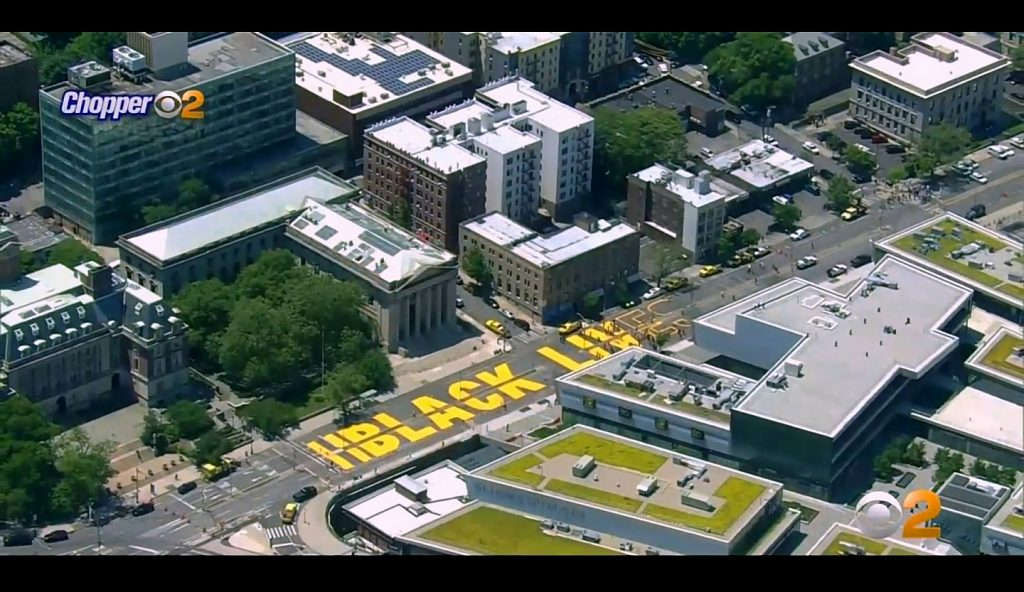 Black Lives Matter Mural On Richmond Terrace From Chopper2 News Copter. Image Credit- WCBS-TV NYC