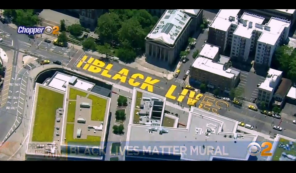 Black Lives Matter Street Mural On Richmond Terrace From Chopper2 News Copter. View Two. Image Credit- WCBS-TV NYC
