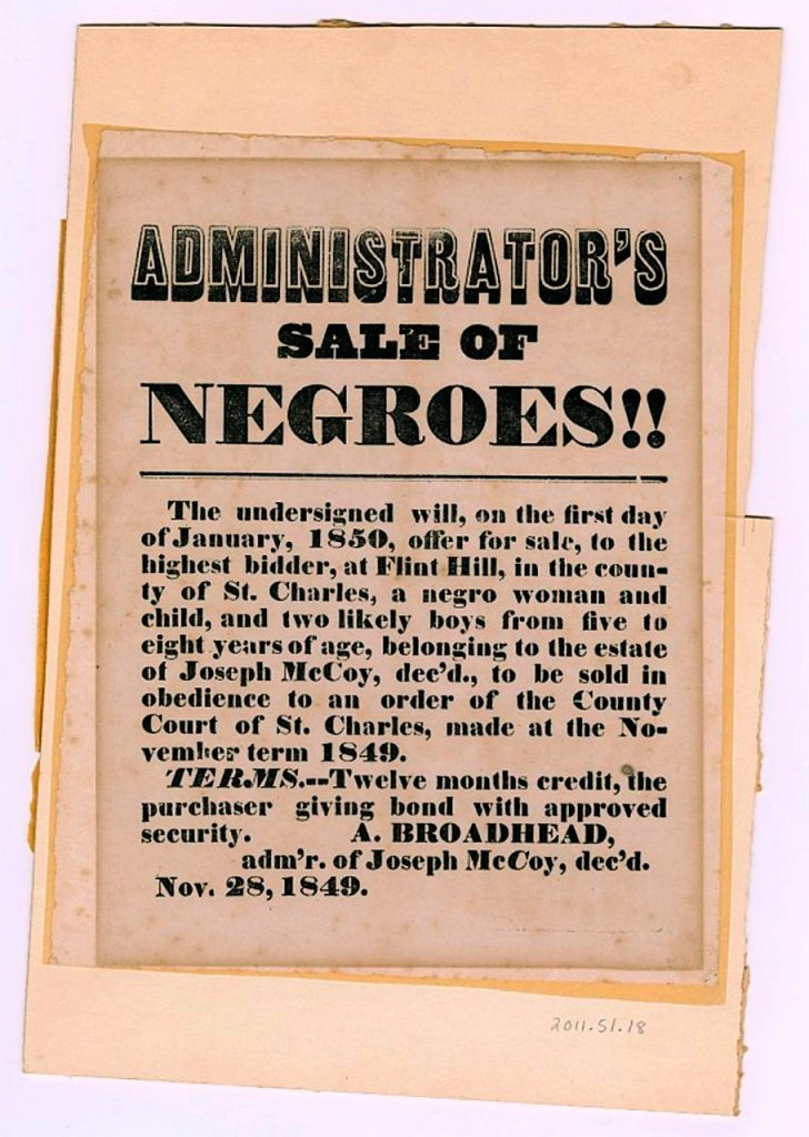 Flyer For Sale of Slaves. Image Credit-Smithsonian Collection
