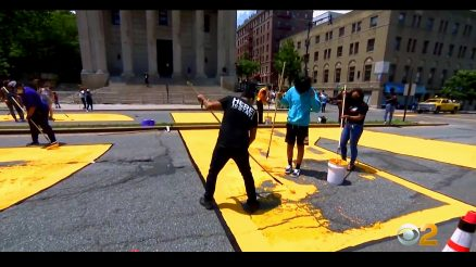 Members Of The Staten Island Community Create The Black Lives Matter Memorial On Juneteenth, 2020. Image Credit- WCBS-TV NYC