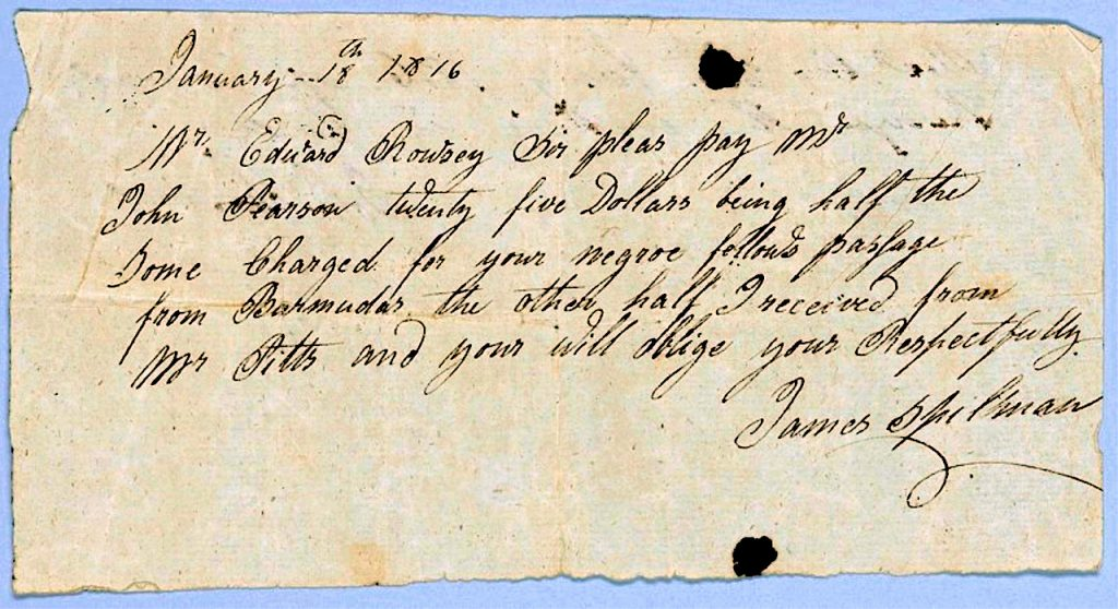 Payment Request From 1816 For An Enslaved Man To Travel