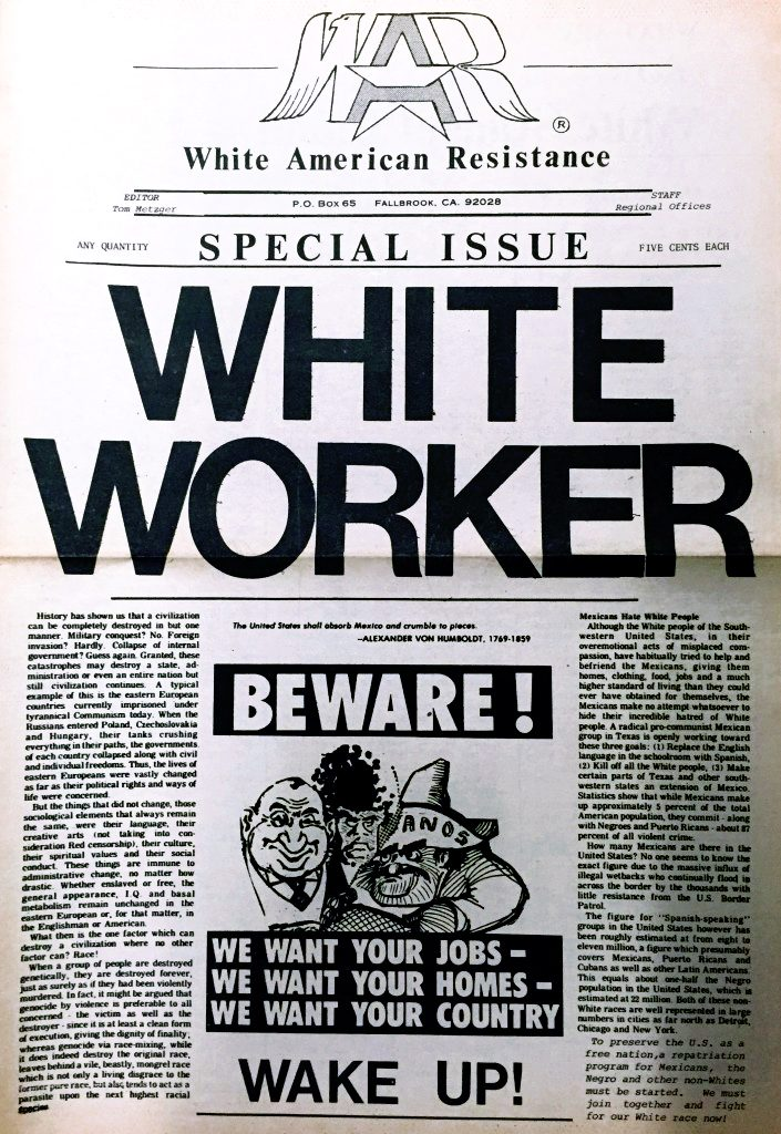 White Aryan Resistance Special Issue - White Worker Beware!