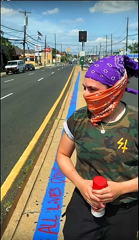 Protester Defaces Scott LoBaido's Blue Line In Front Of 122