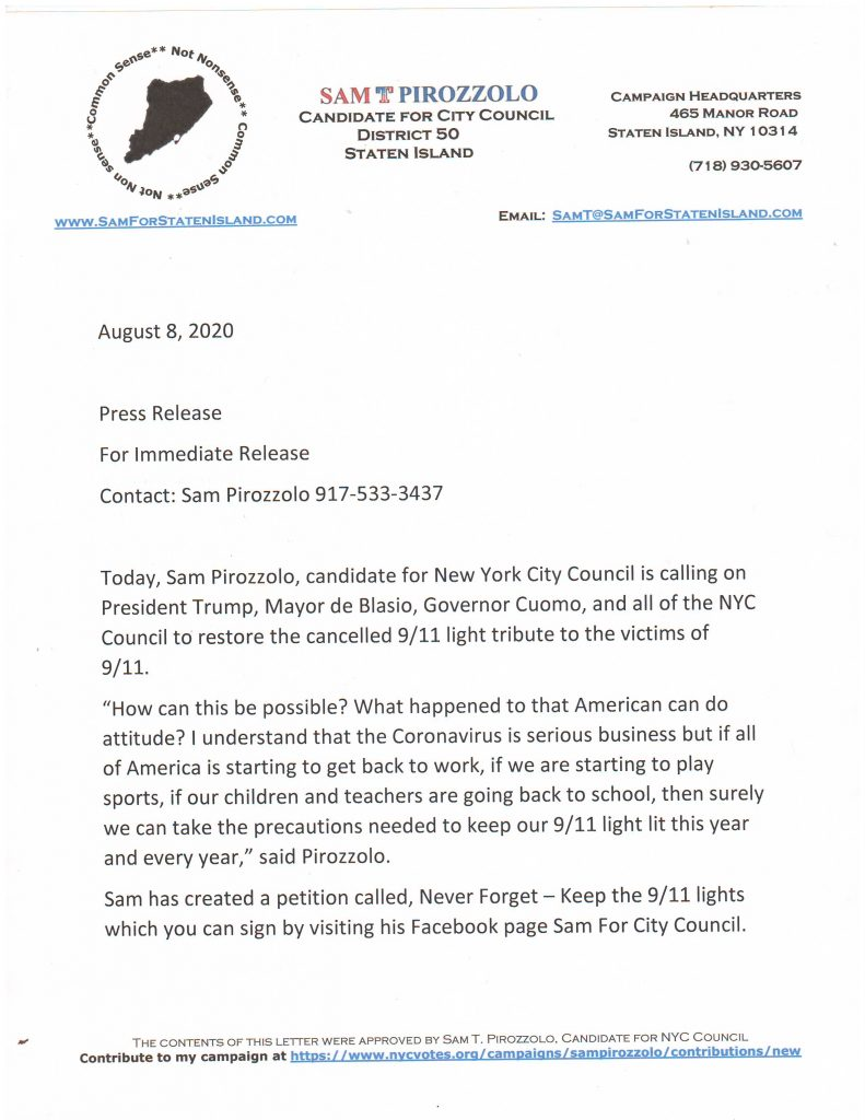 Press Release To Restore The 9/11 Memorial Lights