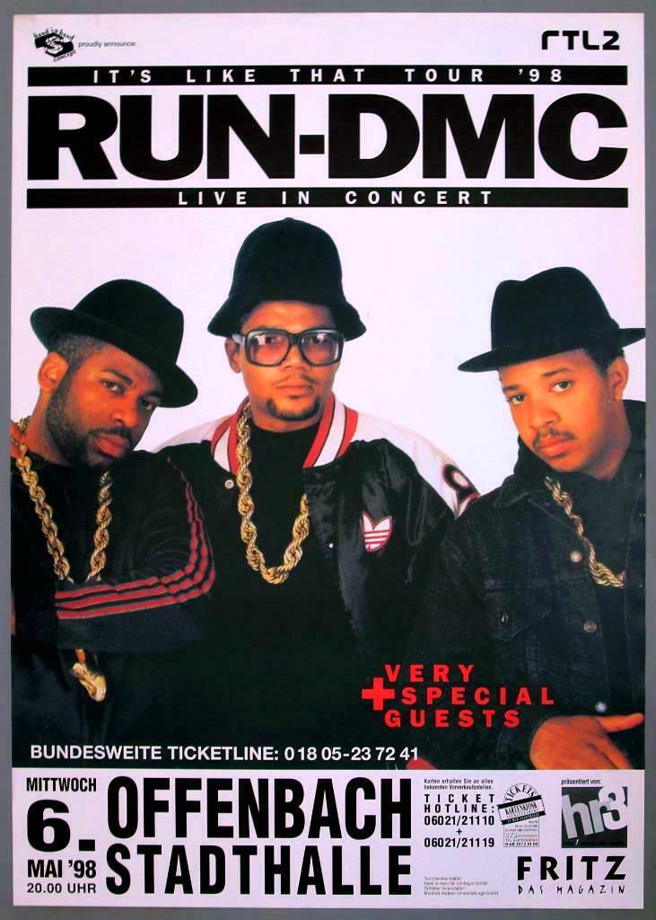 RUN-DMC Live In Concert Poster May '98 European Tour