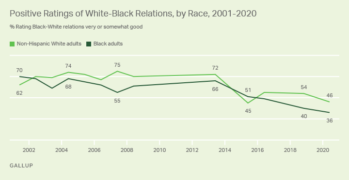 Gallup Poll - Positive Rating of White-Black Relations, by Race, 2001-2020