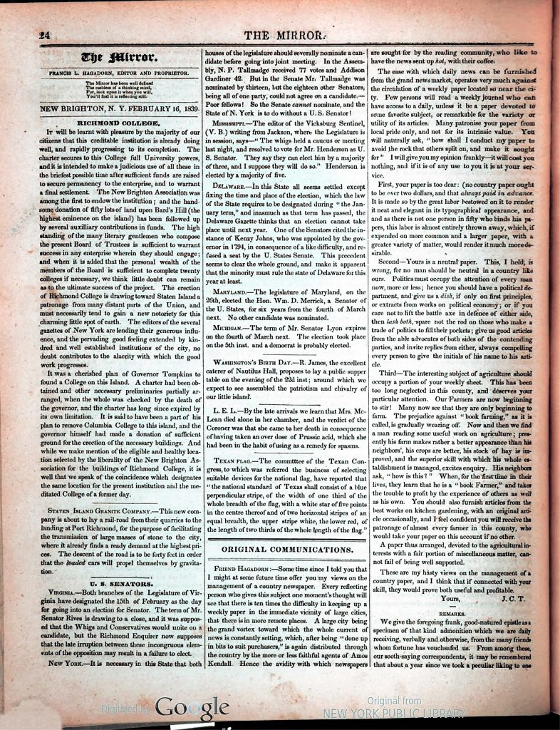 The Mirror. February 16, 1839. Page 24. Courtesy of Alphabet Inc