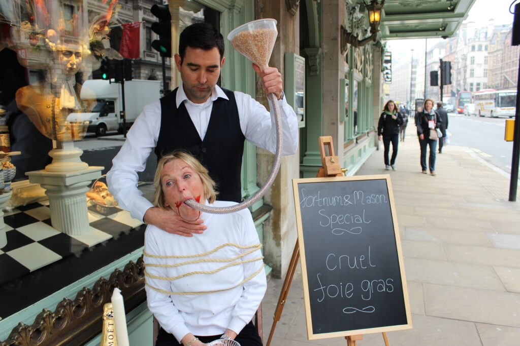 Ingrid Protesting Foie Gras In Front Of Fortnum and Mason