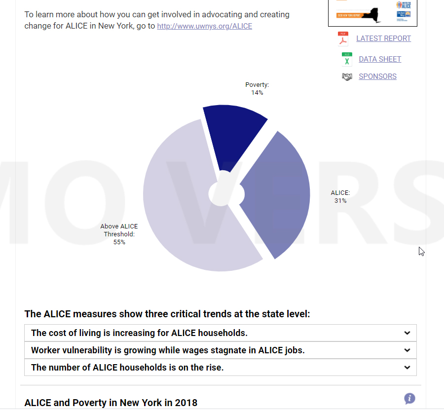 ALICE Households made up 45% of the population.  Image Credit - United Way New York page
