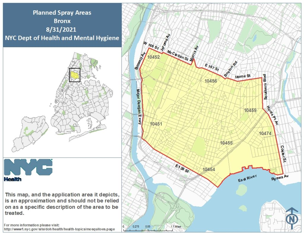 Spray Map for The Bronx. Image Credit - NYC DOH