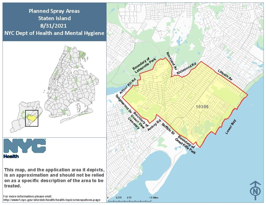 Spraying Map For Staten Island on August 31st. Image Credit - NYC DOH