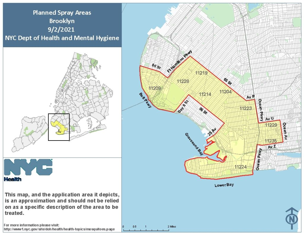 Spray Map for Brooklyn. Image Credit - NYC DOH