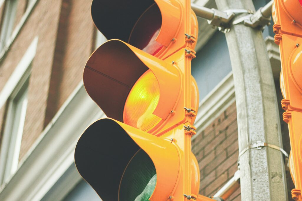 Yellow Traffic Light. Image Credit - David Guenther