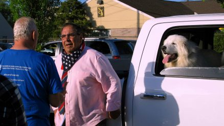 Steve Margarella's Dog Watches Him Have A Conversation With A Rally Participant After The Event Is Over
