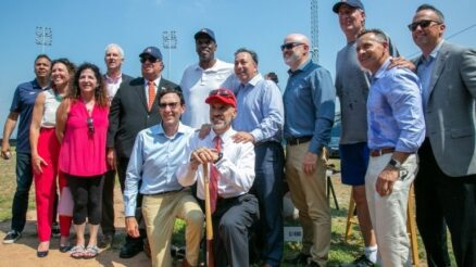 """Staten Island celebrates the return of professional baseball with Dwight """"Doc"""" Gooden, politicians, coaches, youth, and others. Image Credit - NYCEDC"""